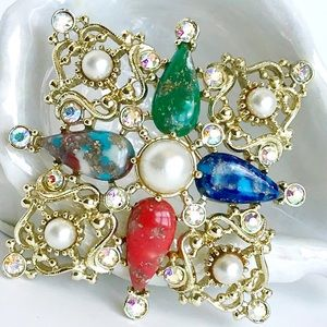 Vintage Statement Brooch Gold Pearl Sarah Coventry